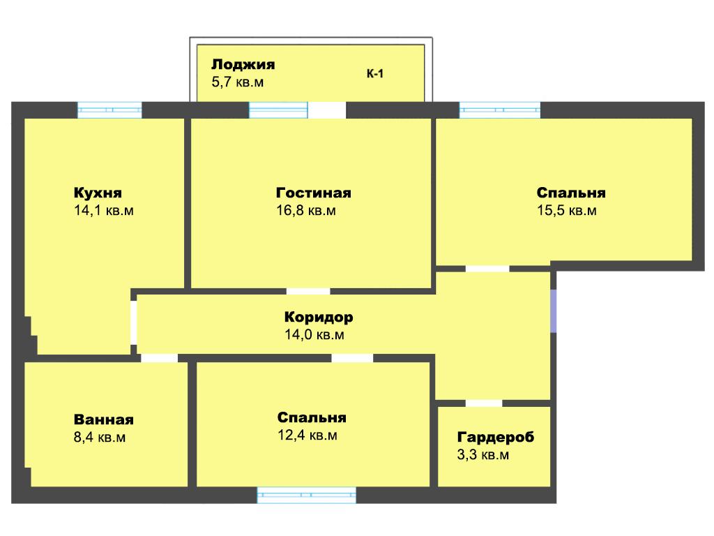 3-к квартира, ул. Лужская 23Б к1, 90.2 м², 2/9 эт.
