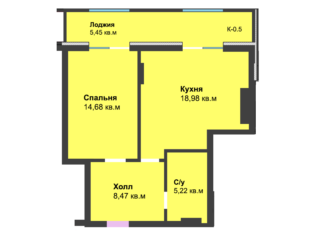 1-к квартира, ул. Красносельская 58, 52.78 м², 6/4 эт.