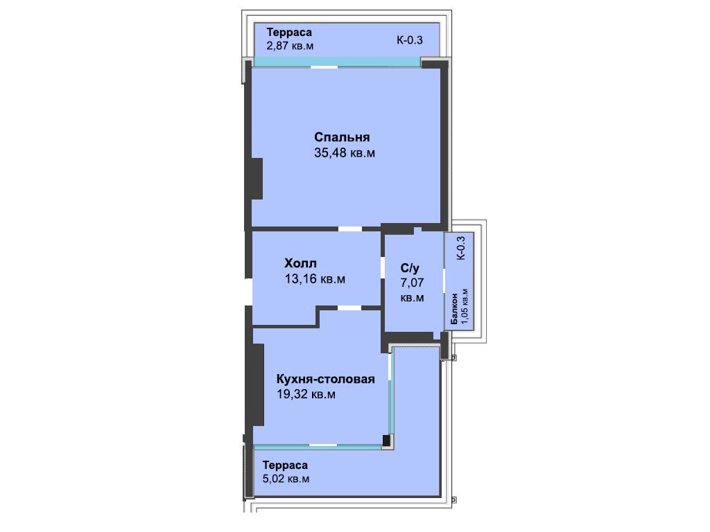 1-к квартира, ул. Красносельская 58, 83.97 м², 6/6 эт.
