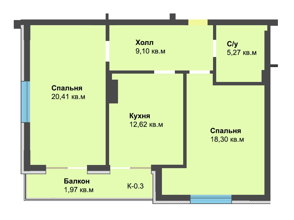 2-к квартира, ул. Красносельская 58, 67.67 м², 6/2 эт.