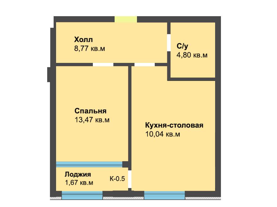 1-к квартира, ул. Красносельская 58, 47.4 м², 6/3 эт.