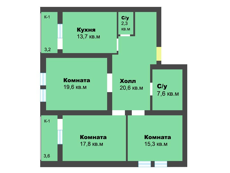 3-к квартира, ул. Лесопарковая 39а, 103.7 м², 1/4 эт.