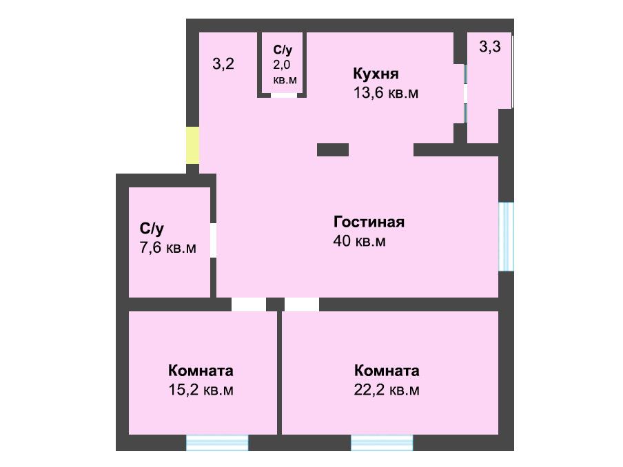 3-к квартира, ул. Лесопарковая 39а, 103.8 м², 4/4 эт.