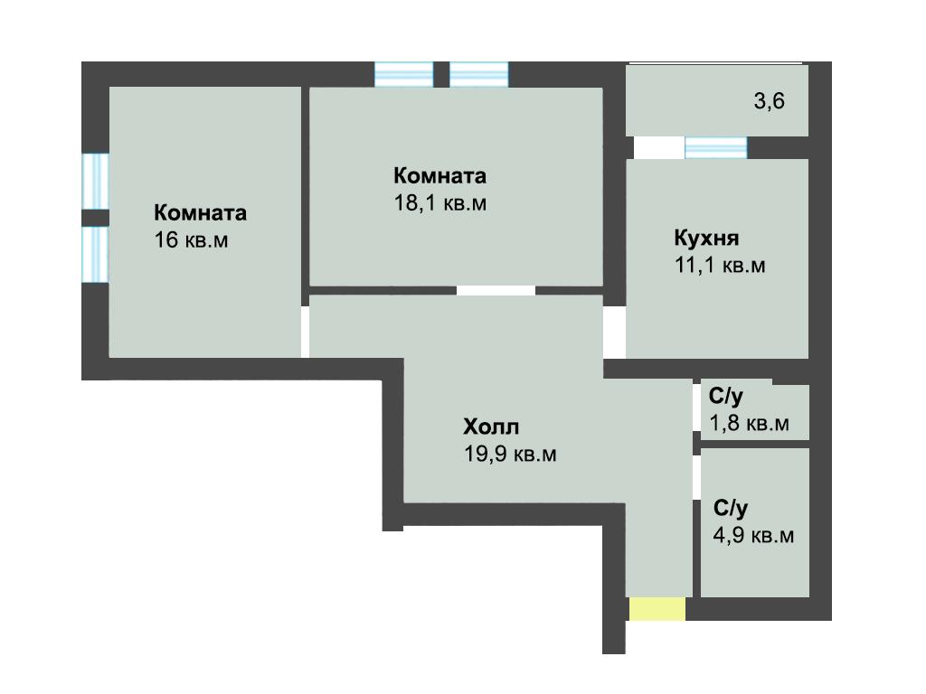 2-к квартира, ул. Лесопарковая 39а, 73.6 м², 4/1 эт.