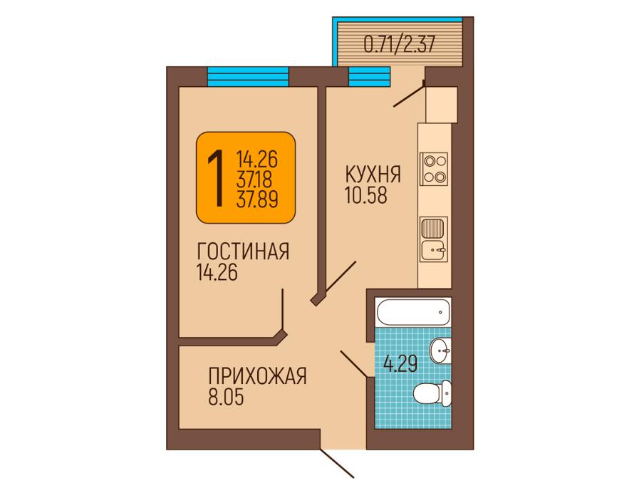 1-к квартира, Пражский бульвар 6, 37.15 м², 4/6 эт.