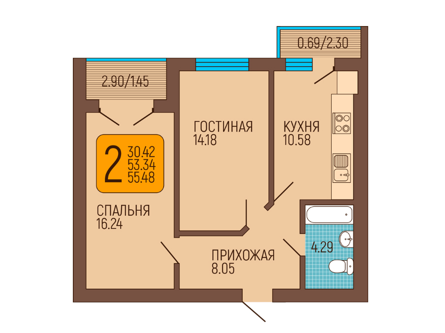 2-к квартира, Пражский бульвар 6, 54.55 м², 6/6 эт.