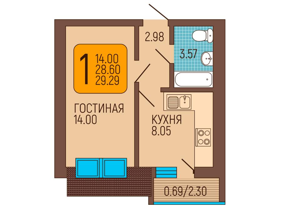 1-к квартира, Пражский бульвар 6, 28.68 м², 6/6 эт.