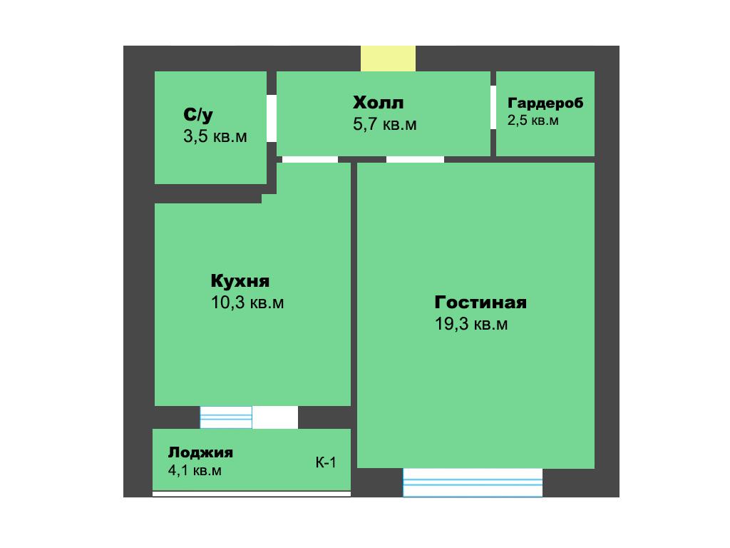 1-к квартира, ул. Орудийная 32Б, 45.4 м², 3/12 эт., 6п.