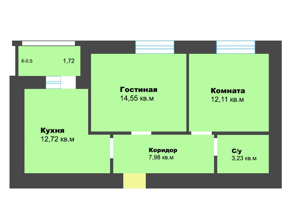 2-к квартира, ул. Карамзина (дом 5, этап 2), 53.13 м², 9/10 эт.