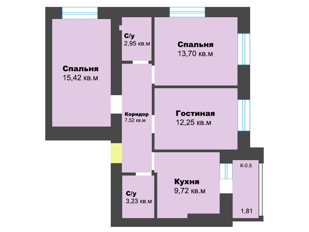 3-к квартира, ул. Карамзина (дом 5, этап 2), 66.60 м², 3/10 эт. - Фотография 1