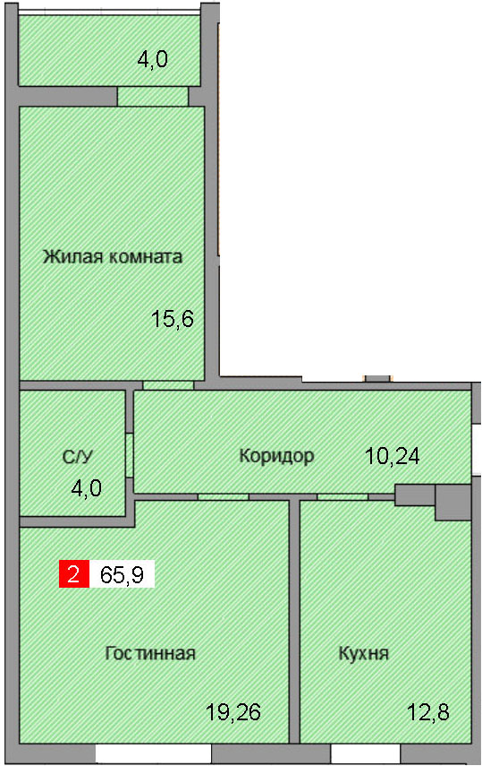 2-комнатная квартира (65,9 м²)
