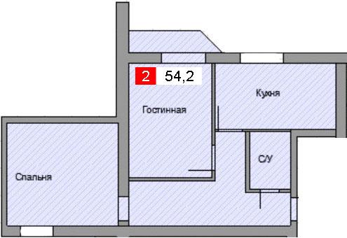 2-комнатная квартира (54,2 м²)