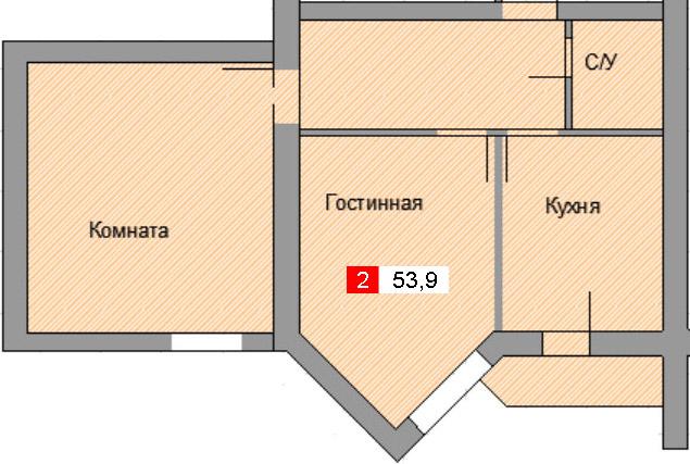2-комнатная квартира (53,9 м²)