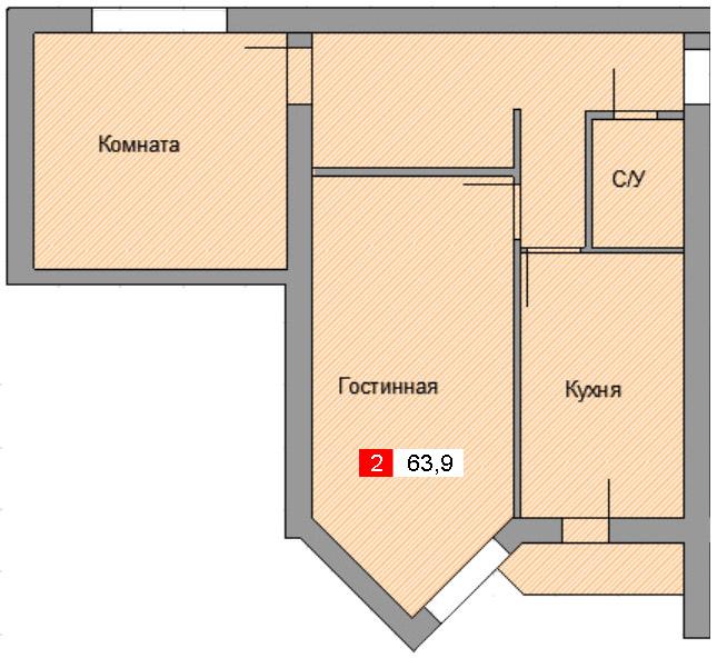 2-комнатная квартира (63,9 м²)