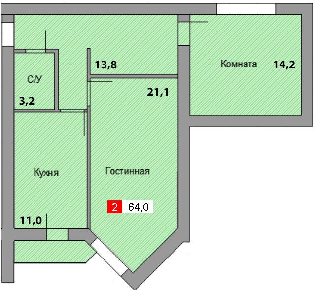 2-комнатная квартира (64,0 м²)