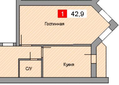 1-комнатная квартира (42,9 м²)
