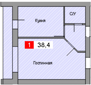 1-комнатная квартира (38,4 м²)