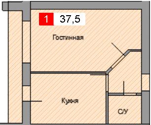 1-комнатная квартира (37,5 м²)