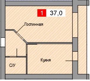 1-комнатная квартира (37,0 м²)