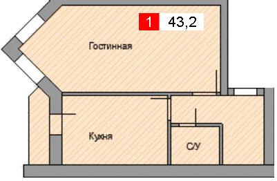 1-комнатная квартира (43,2 м²)