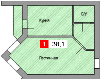 1-комнатная квартира (38,1 м²)