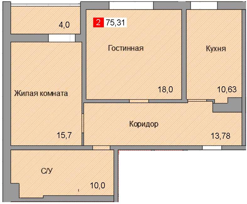 2-комнатная квартира (75,31 м²)