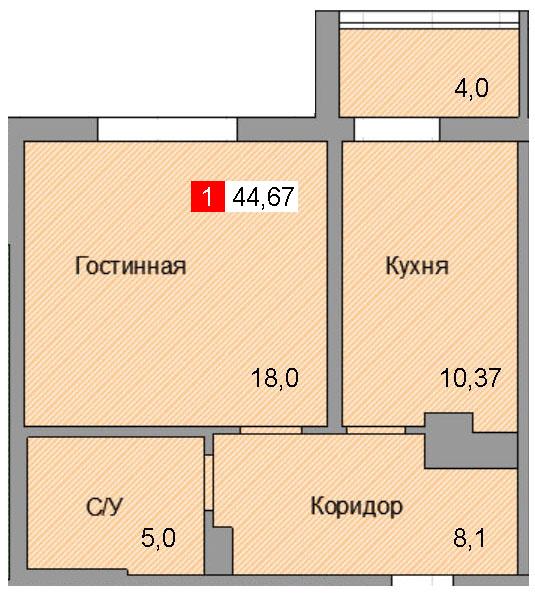 1-комнатная квартира (44,67 м²)