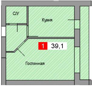 1-комнатная квартира (39,1 м²)