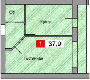 1-комнатная квартира (37,9 м²)