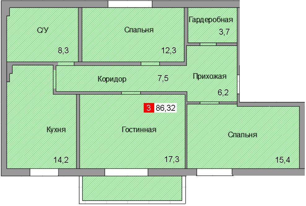 3-комнатная квартира (86,32 м²)