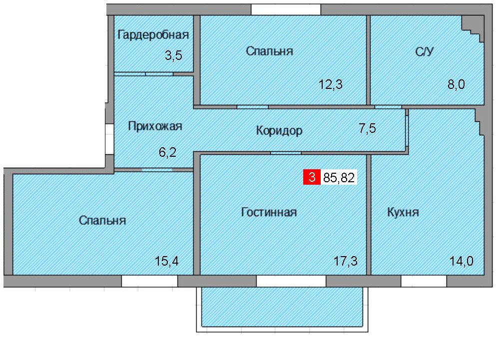 3-комнатная квартира (85,82 м²)