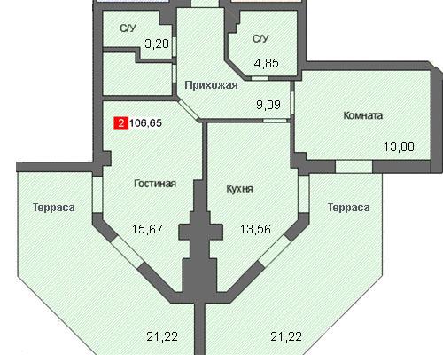 2-комнатная квартира (106,65 м²)