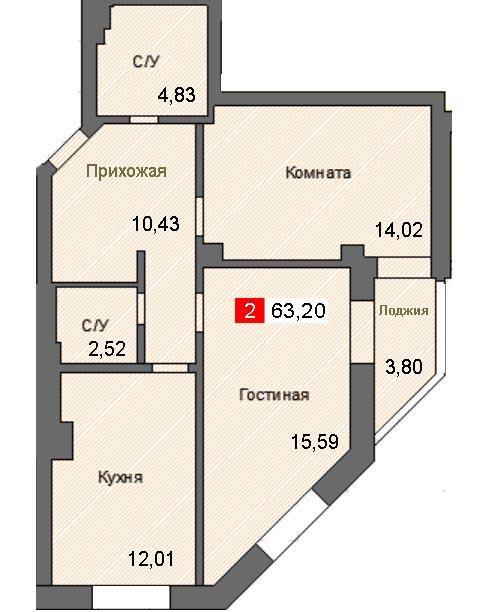 2-комнатная квартира (63,20 м²)
