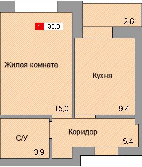 1-комнатная квартира (36,3 м²)