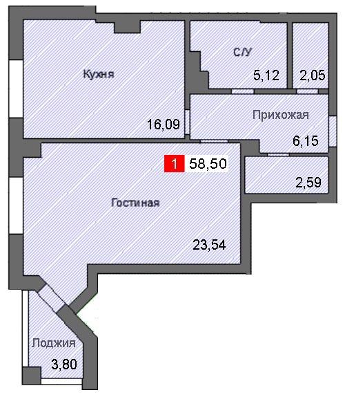 1-комнатная квартира (58,50 м²)