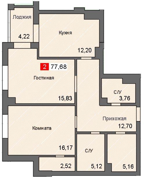 2-комнатная квартира (77,68 м²)