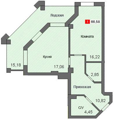 1-комнатная квартира (66,58 м²)