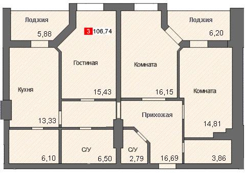 3-комнатная квартира (106,74 м²)