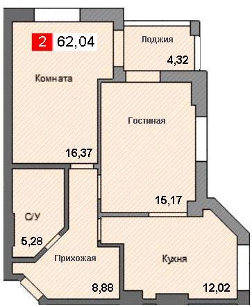 2-комнатная квартира (62,04 м²)