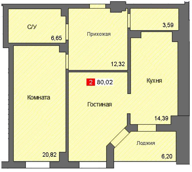 2-комнатная квартира (80,02 м²)