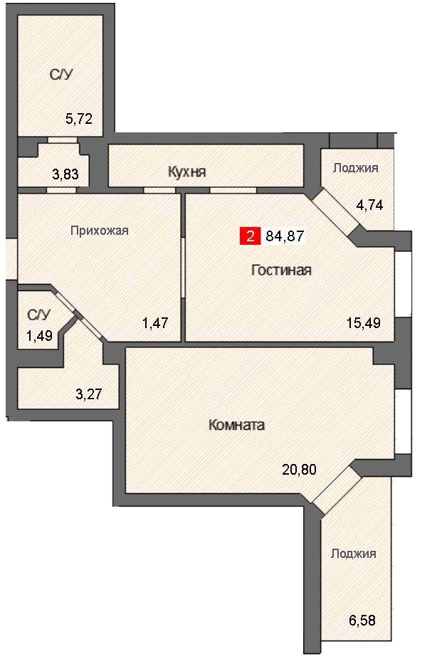 2-комнатная квартира (84,87 м²)