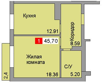 1-комнатная квартира (45,70 м²)