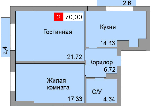 2-комнатная квартира (53,10 м²)