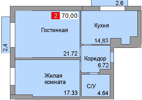 2-комнатная квартира (70,00 м²)