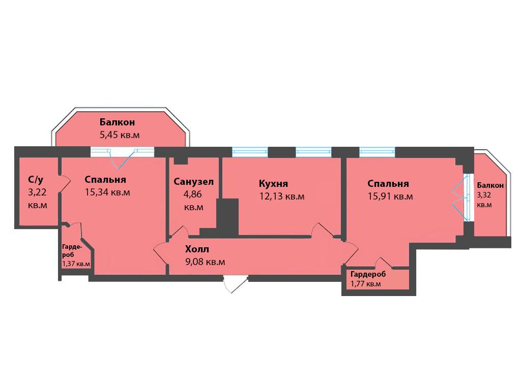 2-к квартира, ул. К. Леонова 49а, 72.44 м², 6/12 эт.,1с.