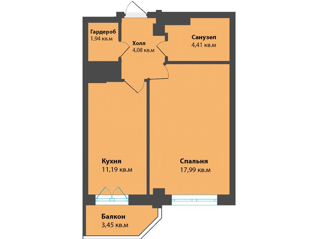1-к квартира, ул. К. Леонова 49а, 43.05 м², 9/12 эт.,1с.