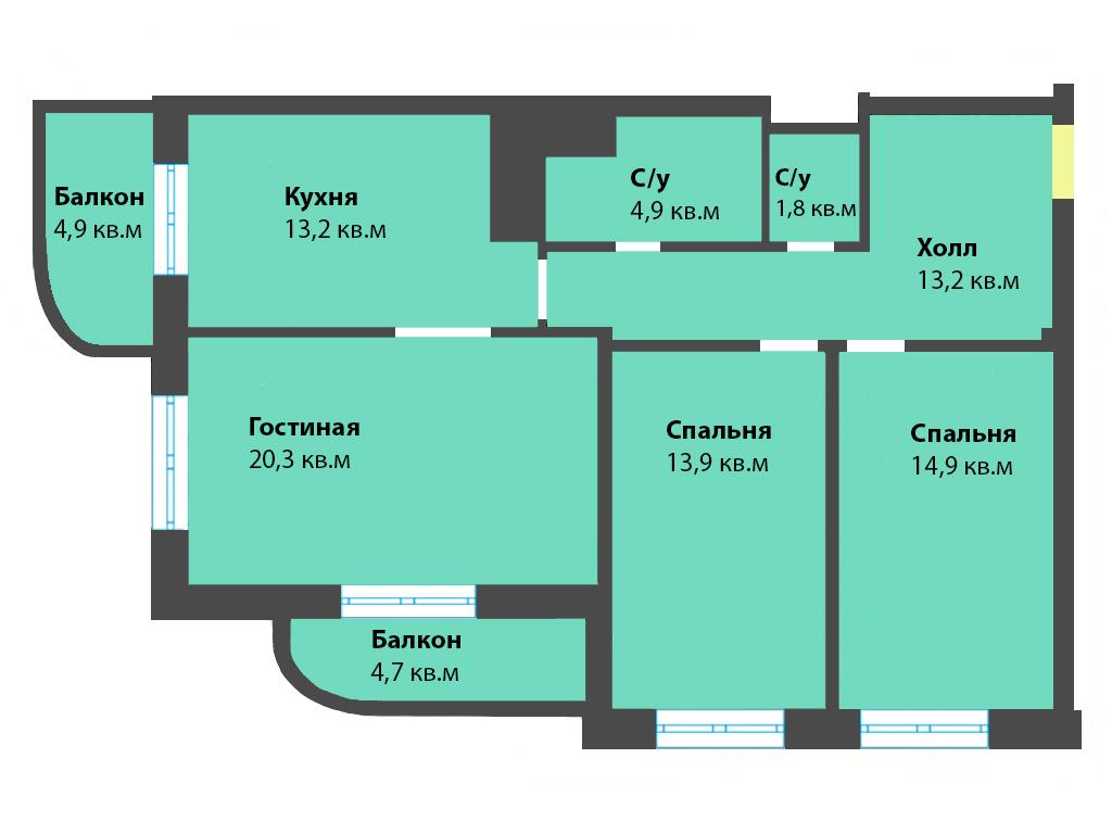 3-к квартира, ул. Яблоневая аллея 10, 91.8 м², 3/5 эт.