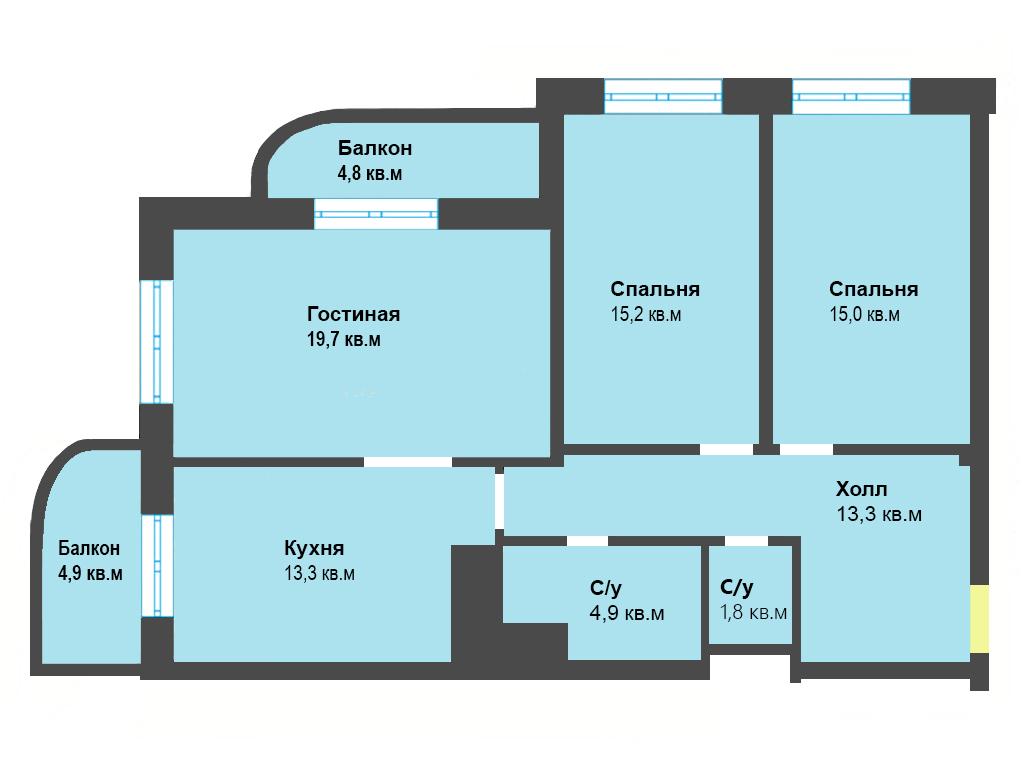 3-к квартира, ул. Яблоневая аллея 10, 92.9 м², 3/5 эт.