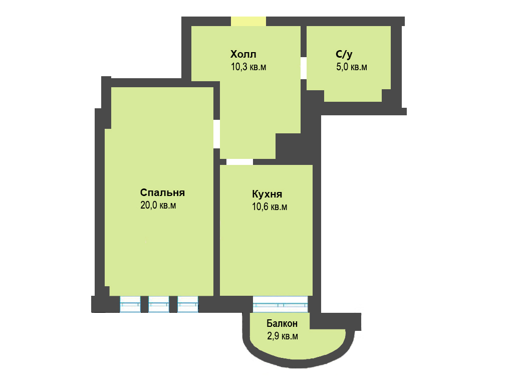 1-к квартира, ул. Яблоневая аллея 10, 48.8 м², 4/5 эт.