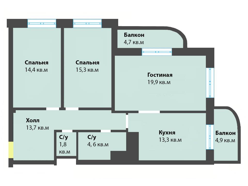 3-к квартира, ул. Яблоневая аллея 10, 92.6 м², 2/5 эт.